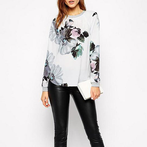 Women Shirts Blouses Chiffon Women Tops Polyester White Ink Floral Print Vintage Full Sleeve