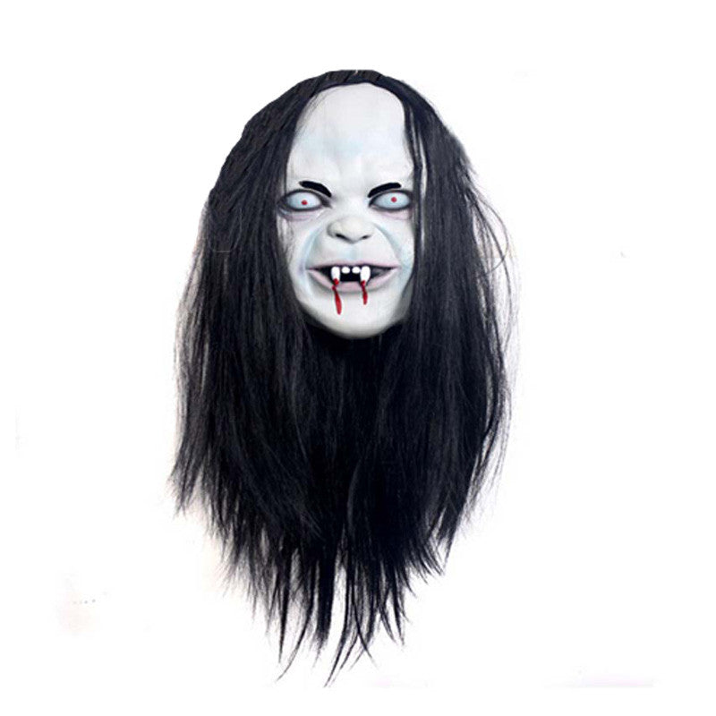 Toothy Zombie Bride With White Hair Horror Ghost Halloween Mask