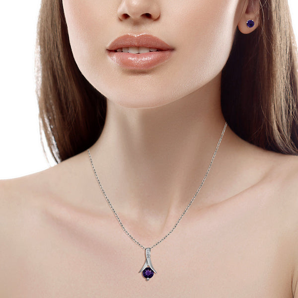 "925 Sterling Silver Jewelry Set 2.25 Ct Round Purple Natural Amethyst Pendant and Earrings Set 18"" Chain"