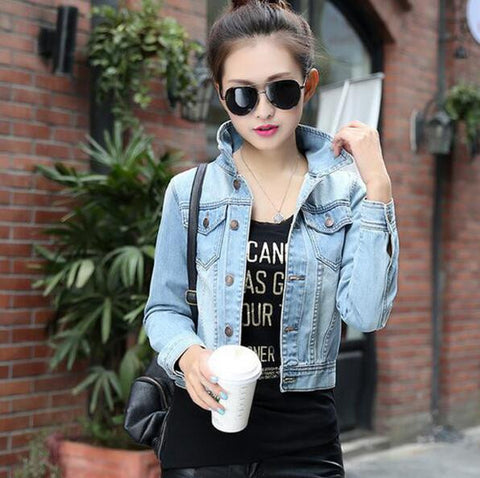 Autumn Spring Long Sleeve Women Denim Jacket Frayed Jeans Jacket Women Oversized