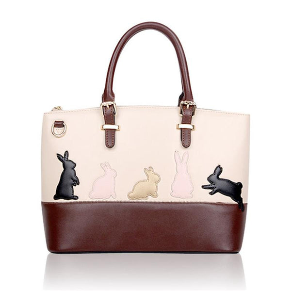 Cute Cat Rabbit PU Leather Shoulder Bag Detachable Belt Handbags Messenger Crossbody Casual Tote
