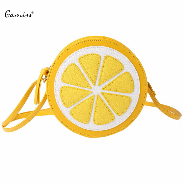 Shoulder Dual Purpose Mini Bags Ladies Round Lemon Pattern Zipper Crossbody Women Messenger Bag