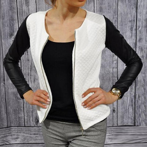 Women Slim PU Leather Jacket Casual Zip Long Sleeve Chic Stylish Tops Blouse Outwear