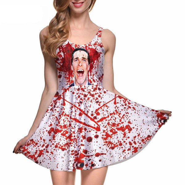 American Psycho Skater Dress Vintage Digital Printing Club Casual Dresses
