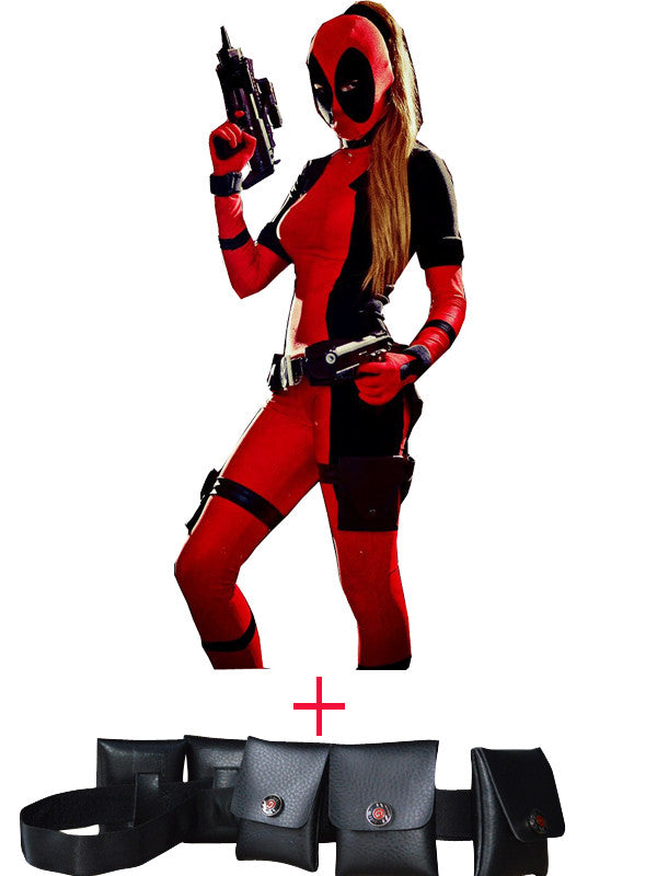 Black and Red Deadpool Spandex Bodysuit and Belt Halloween Costumes For Women