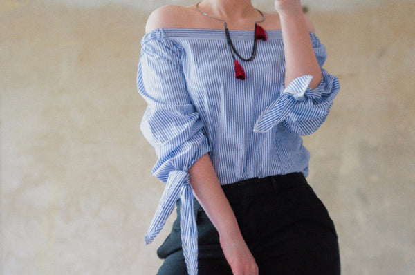 Girls White Blouse Women Tops Beach Short Elegant Bow Blue Off Shoulder Female Blouse Shirt