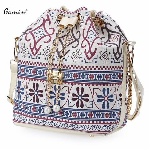 Drawstring Bucket Shoulder Faux Pearl Letter Bucket Multi Purposes Tote Shoulder Crossbody Bag