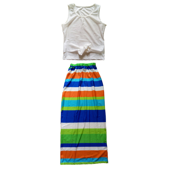Women Two Pieces Outfits Summer Print Striped Maxi Long Dress Midi Casual Sexy Bandage Dress