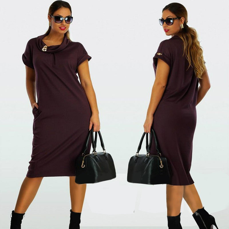 Larger Size Women Dresses Casual Plus Size Women Clothes Tunic Work Bodycon Dress L-6XL