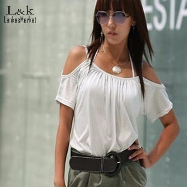 Summer Style T-Shirt Women Lady Fashion Short Sleeve Hollow Out Off Shoulder T-Shirt Tops