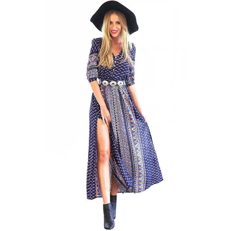 S-XL Autumn Ethnic Print Half Sleeve Side Slit Bohemian Dress Ankle Length Maxi Long Beach Dress