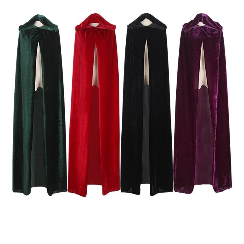 Witch Long Purple Green Red Black Cloaks Hood And Capes Halloween Costumes For Women Men