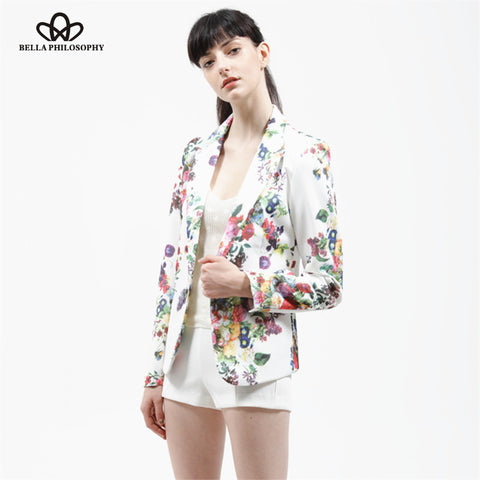 Autumn Winter Floral Printing Slim Suit Button Women White Blazer Coat