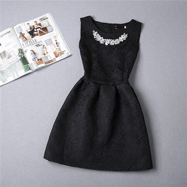 Women Dress Sleeveless Vintage Summer Dress Elegant Party Slim Bottoming Dresses Print Ball Gown