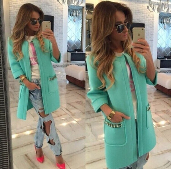 Fall And Winter Coats For Ms. Candy-colored Thick Sleeve Female Long Women Open Stitch