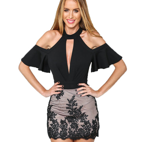 Sexy Choker High Neck Plunge V Keyhole Ruffle Sleeve Cut Out Shoulder Bodysuits Jumpsuits Rompers