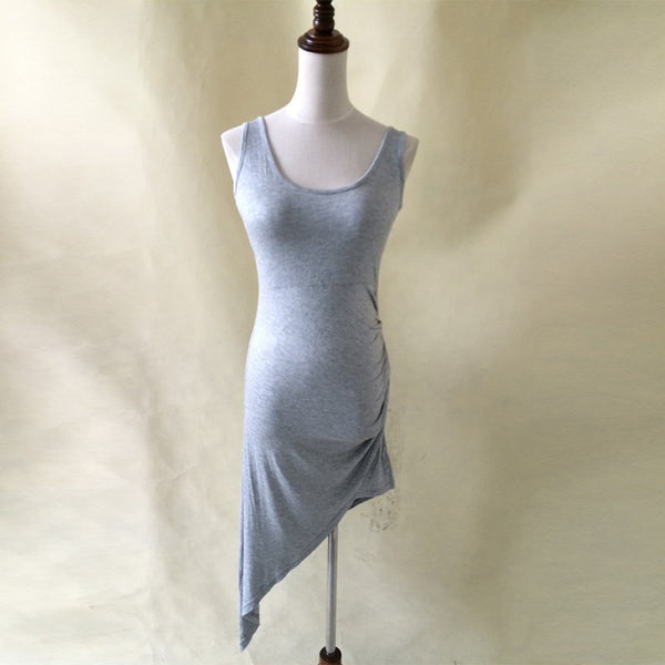 Women Summer Dress Sexy Gray Backless Party Dress Irregular Mini Solid Color Club Dress