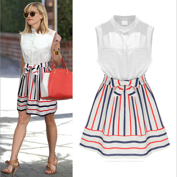 Summer Style Fashion Stand Collar Stripes Spell Color Slim Sleeveless Dress Plus Size