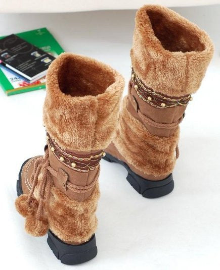 Russia Winter Warm Thickened Fur Over Knee High Heel Boots Women Sexy Long Footwear Size 35-40