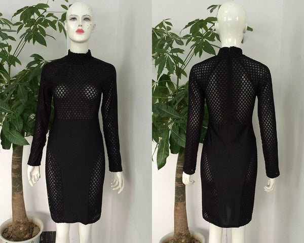 S-XL Black Patchwork Mesh Sheer Party Dresses Stretchy Sexy Club Wear White Bodycon Dress Plus Size