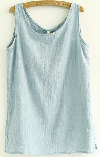Summer Shirt Sleeveless Linen Cotton Loose Women Tanks Soft Long O Neck Conforatble Vest Hot Top