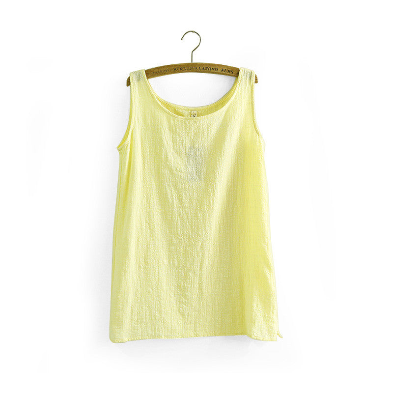 4e08eec0878 ... Summer Shirt Sleeveless Linen Cotton Loose Women Tanks Soft Long O Neck  Conforatble Vest Hot Top ...