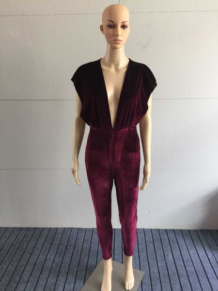 Summer Style Women Fashion Red Jumpsuit V-Neck Sexy Jumpsuit Corduroy Sexy Rompers For Women