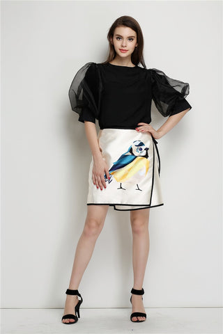 Summer Autumn Runway Style Graffiti Bird Print Ribbon Tie Women's Asymmetric Wrap Skirt