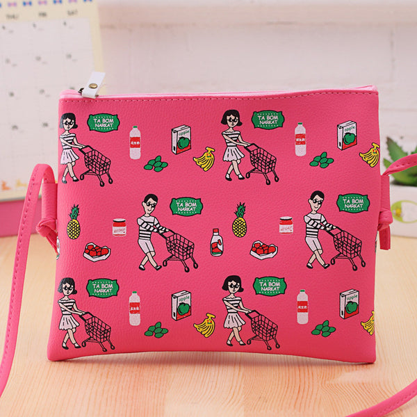 Cartoon Printed Graffiti Handbag Mini Crossbody Shoulder Bag Casual Purses Clutches Girls Handbag