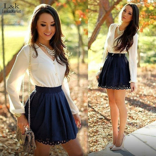 Women Dress Sexy Lady Casual V-neck Long Sleeve Patchwork Mini Dress S-XL