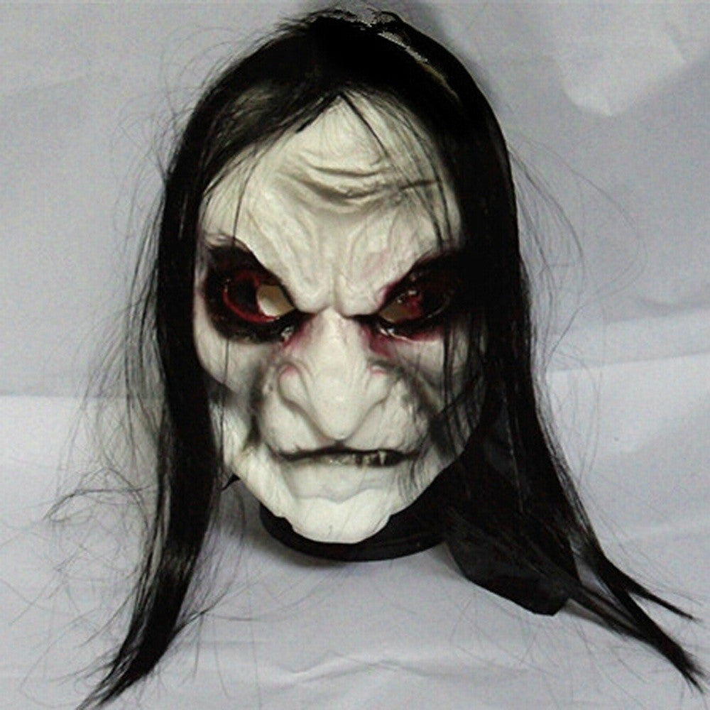 Black Long Hair Cosplay Blooding Ghost Halloween Mask
