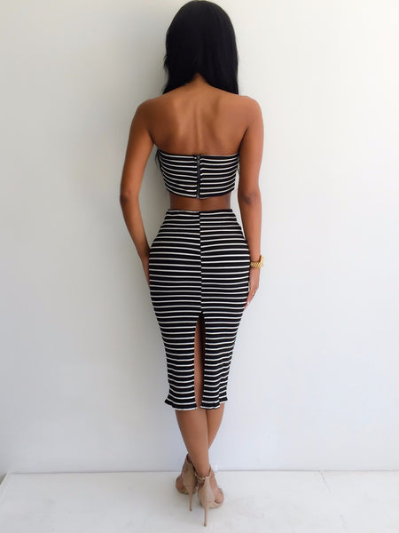 Fashion Summer Style Sexy Party Dresses 2 Piece Set Women Summer Dress Stripe Strapless Maxi Dress