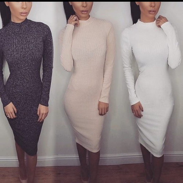 Winter Dress Long Sleeve Party Dresses Sexy Club Bandage Dress Cotton Women Dresses