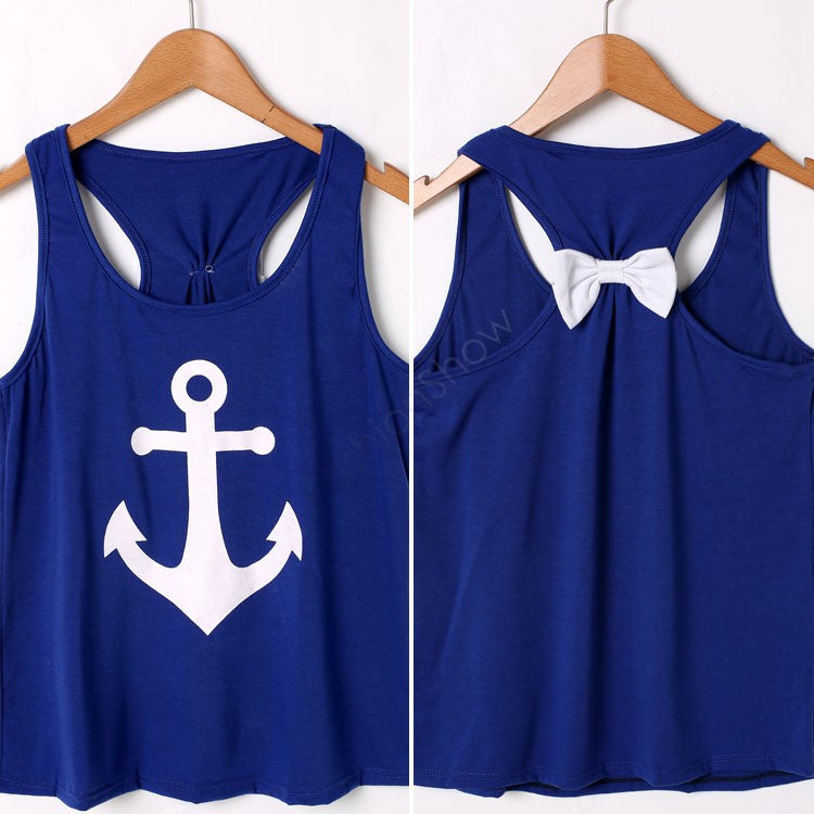Women T-Shirt Female Bright Colors Sleeveless Printed T-Shirt Bow Back S-XL 36