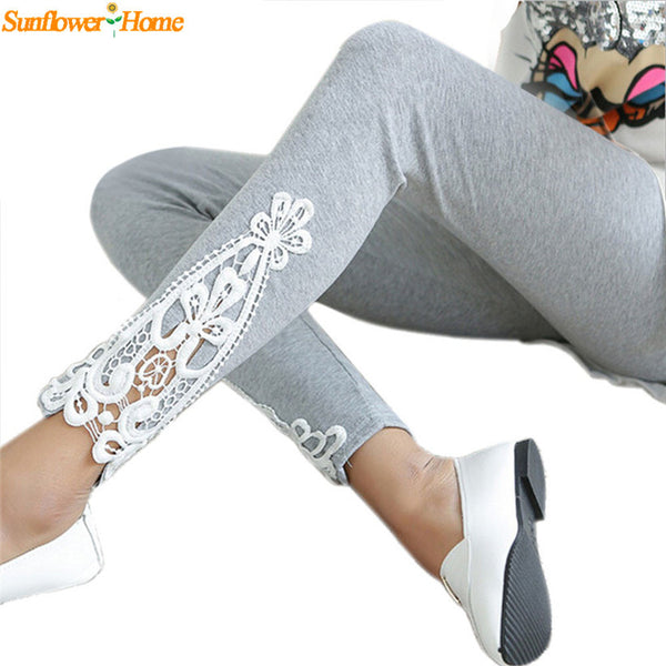 Autumn Cotton Leggings Side Leg Triangle Lace Solid Leggings