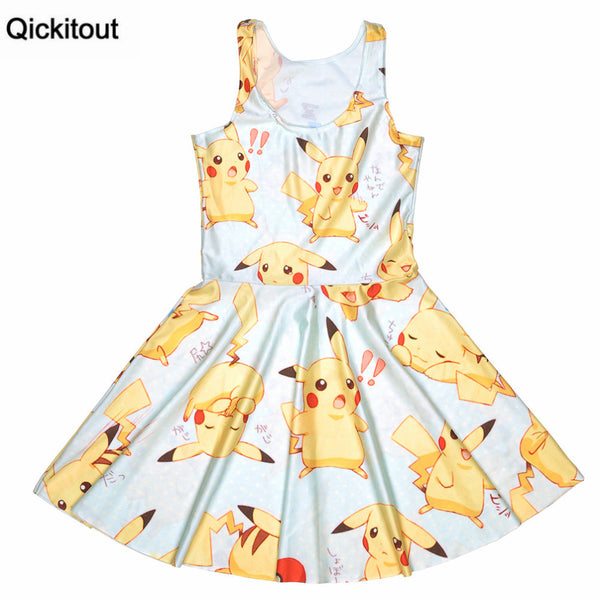 Pikachu Digital Print Sleeveless Tight Beach Dresses