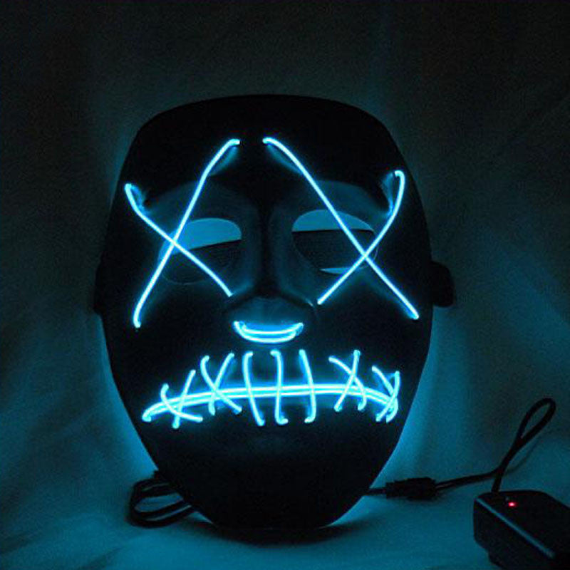Halloween EL Led Glowing Wire PVC Scary Clown Mask