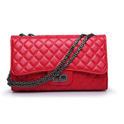 Luxury Plaid Quilted Chains Designer Handbag Leather Crossbody Messenger Bag
