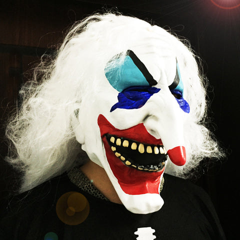 Clown Skull Long Hair Halloween Mask