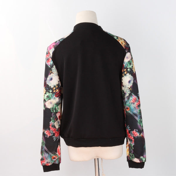 Flower Print Girl Plus Size Casual Baseball Jacket Women Sweatshirts Button Thin Bomber Jacket
