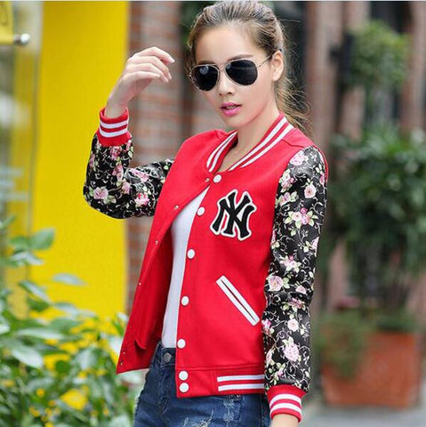 Winter Warm Basic Coats Jacket Long-sleeve Flower Print Plus Size Baseball Jackets Cardigan