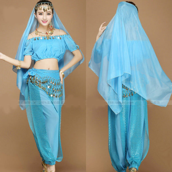Halloween Cosplay Party Wedding Belly Dancer Aladdin Princess Jasmine Costumes For Women