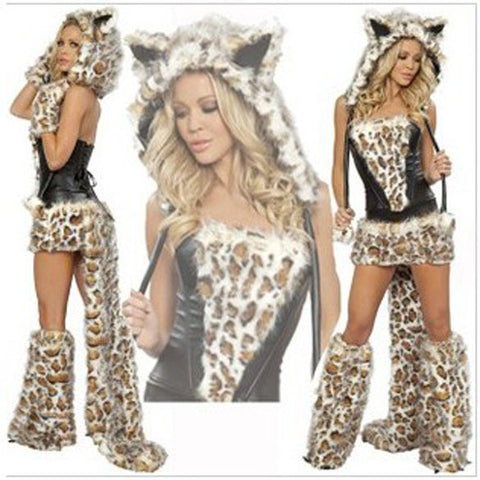Leopard Cat Suits Wolf Cosplay Halloween Costumes With Tail For Women