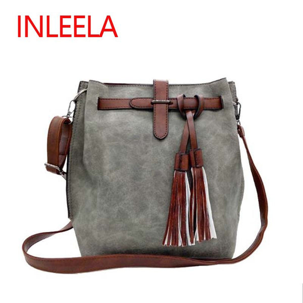 Women Bucket Bag Vintage Tassel Messenger Bag Large Retro Shoulder Bag Simple Crossbody Bag