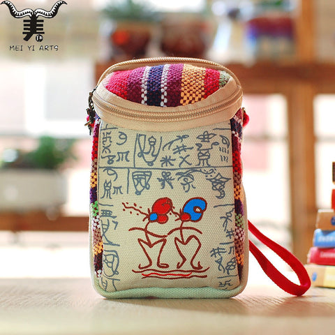 Print Ethnic Small Canvas Bag High Quality Casual Mini Crossbody Bag Two Zipper Cute Bags