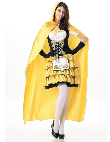 Women Wandering Soul In The Night Plus Size Halloween Costumes Witch Cape Yellow With Gloves