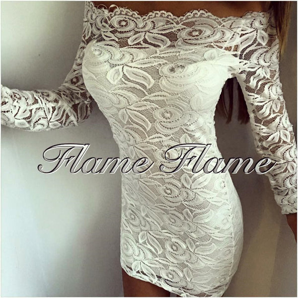Autumn Dress Bodycon Fashion Off Shoulder Strapless Women's Dress Lace Party Dress Sexy Slash Neck