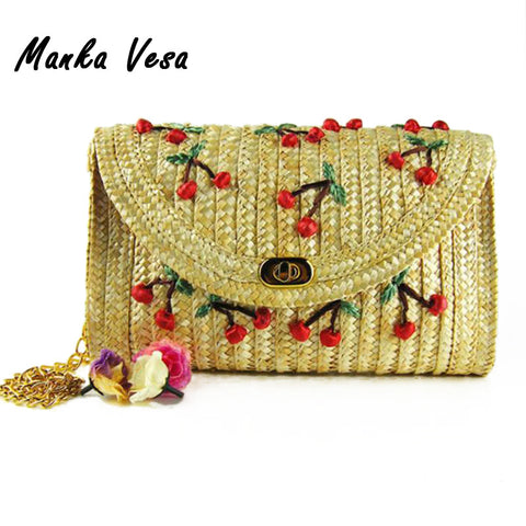Cherry Banana Straw Messenger Woven Day Clutch Flap Bag Beach Package Crossbody Chain Bag