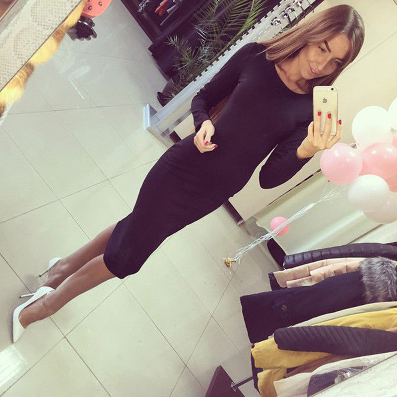 Cotton Long Sleeve Knee Length Midi Dress Slim Bodycon Bandage Autumn Black Wine Red Women Dresses