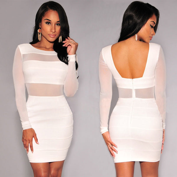 XS-XXL Sexy Bandage Winter Black White Dress Long Sleeve Mesh Patchwork Hollow Out Pencil Dress